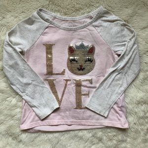 Children's Place Pink & Grey Sequin Cat Shirt 3T